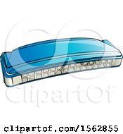 Clipart Of A Blue Mouth Organ Harmonica Royalty Free Vector Illustration by Lal Perera