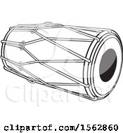Clipart Of A Black And White Sri Lankan Drum Instrument Royalty Free Vector Illustration