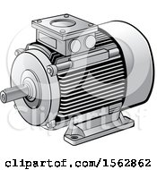 Clipart Of A Silver Electric Motor Royalty Free Vector Illustration