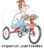 Sad White Business Man Riding A Tricycle To Save Gas Money