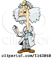 Cartoon Doctor Albert Einstein Holding A Stethoscope