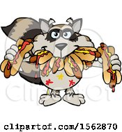 Cartoon Raccoon Shoving Messy Hot Dogs In His Mouth