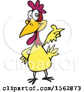 Clipart Of A Cartoon Chicken Pointing Royalty Free Vector Illustration