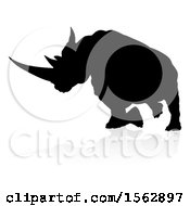 Silhouetted Charging Rhino With A Shadow On A White Background
