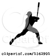 Black Silhouetted Baseball Player Batting With A Reflection On A White Background