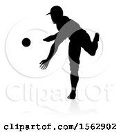 Black Silhouetted Baseball Player Pitching With A Reflection On A White Background