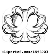 Clipart Of Black And White Monster Or Eagle Claws Grabbing A Cricket Ball Royalty Free Vector Illustration
