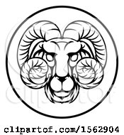 Clipart Of A Black And White Zodiac Horoscope Astrology Aries Ram Circle Design Royalty Free Vector Illustration