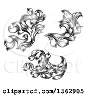 Clipart Of Black And White Ornate Vintage Floral Design Elements Royalty Free Vector Illustration