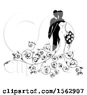 Black And White Silhouetted Posing Wedding Bride And Groom With A Bouquet