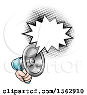 Clipart Of A Hand Holding A Megaphone With A Speech Bubble Royalty Free Vector Illustration by AtStockIllustration