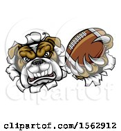 Clipart Of A Tough Bulldog Monster Sports Mascot Holding Out A Basketball In One Clawed Paw And Breaking Through A Wall Royalty Free Vector Illustration