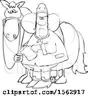 Clipart Of A Lineart Black Cowboy Pouring A Cup Of Coffee By A Horse Royalty Free Vector Illustration