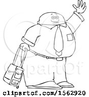 Poster, Art Print Of Lineart Traveling Black Business Man With Rolling Luggage Waving Goodbye Or Hailing A Taxi Cab