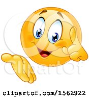 Clipart Of A Yellow Emoji Holding Up A Finger And Gesturing Royalty Free Vector Illustration