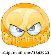 Clipart Of A Yellow Emoji With A Disappointed Expression Royalty Free Vector Illustration