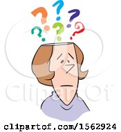 Clipart Of A Cartoon White Woman With Questions Royalty Free Vector Illustration
