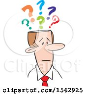 Clipart Of A Cartoon White Business Man With Questions Royalty Free Vector Illustration