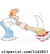 Clipart Of A Caucasian Man Banging A Club On A Book Royalty Free Vector Illustration by Johnny Sajem