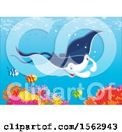 Clipart Of A Cute Stingray And Fish Over A Reef Royalty Free Vector Illustration