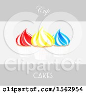 Colorful Cupcakes With Text On Gray