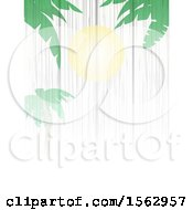 White Wood Background With A Sun And Palm Trees