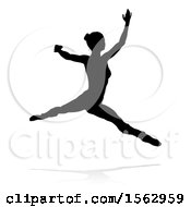 Clipart Of A Silhouetted Ballerina Dancing With A Reflection Or Shadow On A White Background Royalty Free Vector Illustration by AtStockIllustration