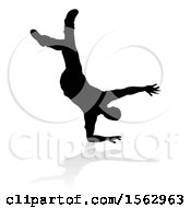 Clipart Of A Silhouetted Male Hip Hop Dancer With A Reflection Or Shadow On A White Background Royalty Free Vector Illustration