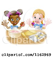 Cartoon Happy White And Black Girls Making Pink Frosting And Star Shaped Cookies