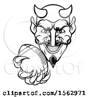 Clipart Of A Black And White Grinning Evil Devil Holding Out A Football In A Clawed Hand Royalty Free Vector Illustration