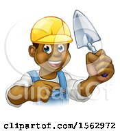 Poster, Art Print Of Black Male Mason Worker Holding A Trowel And Pointing