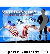 Black Silhouetted Soldier With An American Flag And Sky With Text