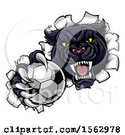 Clipart Of A Black Panther Mascot Breaking Through A Wall With A Soccer Ball Royalty Free Vector Illustration by AtStockIllustration