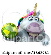 Clipart Of A 3d Chubby Unicorn Holding A Globe On A White Background Royalty Free Illustration