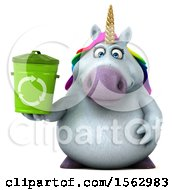 Clipart Of A 3d Chubby Unicorn Holding A Recycle Bin On A White Background Royalty Free Illustration
