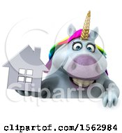 Clipart Of A 3d Chubby Unicorn Holding A House On A White Background Royalty Free Illustration