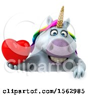 Clipart Of A 3d Chubby Unicorn Holding A Heart On A White Background Royalty Free Illustration