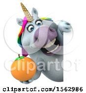 Clipart Of A 3d Chubby Unicorn Holding An Orange On A White Background Royalty Free Illustration