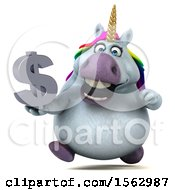 Clipart Of A 3d Chubby Unicorn Holding A Dollar Sign On A White Background Royalty Free Illustration
