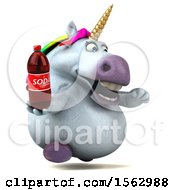 Clipart Of A 3d Chubby Unicorn Holding A Soda On A White Background Royalty Free Illustration