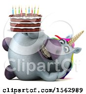 Clipart Of A 3d Chubby Unicorn Holding A Birthday Cake On A White Background Royalty Free Illustration