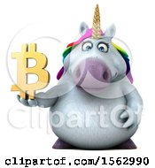 Clipart Of A 3d Chubby Unicorn Holding A Bitcoin Symbol On A White Background Royalty Free Illustration