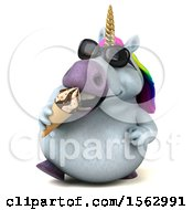 Clipart Of A 3d Chubby Unicorn Eating A Waffle Cone On A White Background Royalty Free Illustration