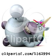 Clipart Of A 3d Chubby Unicorn Holding A Golf Ball On A White Background Royalty Free Illustration