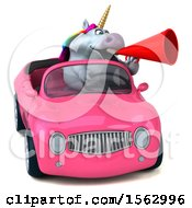 Clipart Of A 3d Unicorn Driving A Convertible On A White Background Royalty Free Illustration