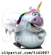 Clipart Of A 3d Unicorn Holding A Tooth On A White Background Royalty Free Illustration