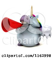 Clipart Of A 3d Chubby Unicorn Holding A Tooth On A White Background Royalty Free Illustration