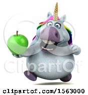 Clipart Of A 3d Chubby Unicorn Holding An Apple On A White Background Royalty Free Illustration