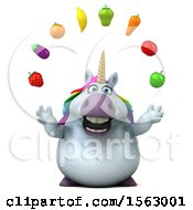Clipart Of A 3d Chubby Unicorn Juggling Produce On A White Background Royalty Free Illustration