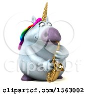 Clipart Of A 3d Chubby Unicorn Playing A Saxophone On A White Background Royalty Free Illustration